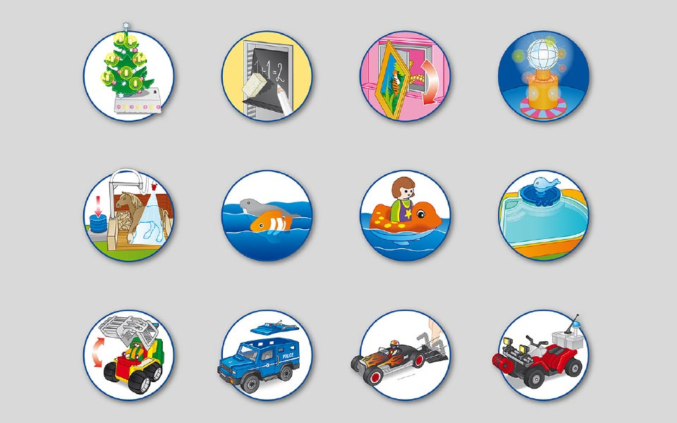 1-2 Playmobil runde Icons