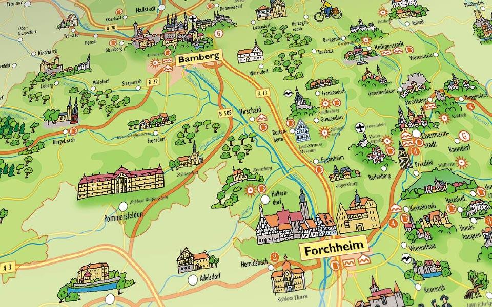 2-2 Illustrierte Karte Forchheim Bamberg