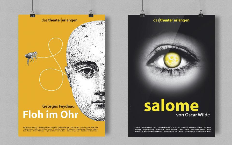 2 Theaterplakate Theater Erlangen Gestaltung