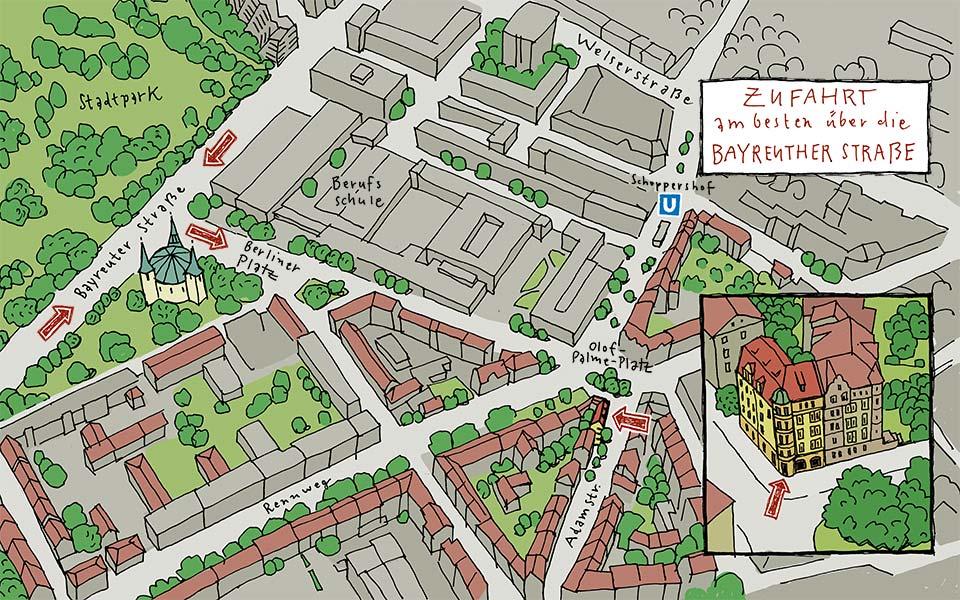 Lageplan grafikatelier Adamstraße