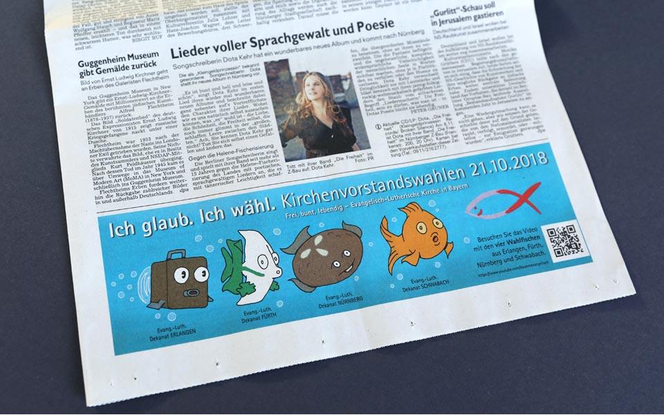 Die Fische als Zeitungsanzeige